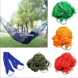 camps hammock swing Canada - Free shipping Style Mesh Nylon Hammock Hanging Outdoor Garden Swing Sleeping Bed Swing Strong Hammock for Camping   Hiking   B