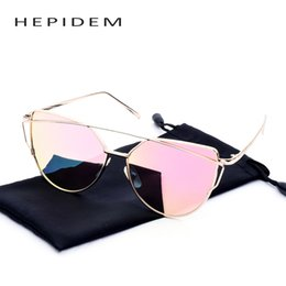China Wholesale-2016 Hot Fashion sun glasses for female Women Brand Designer Vintage Cat eye Sunglasses Mirror Flat Rose Gold Cateye Sunglass cheap gold sunglasses for women wholesale suppliers