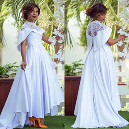 $enCountryForm.capitalKeyWord Canada - Modest High Neck Wedding Dresses A-Line High Low Satin Sheer Lace 2019 Plus Size Pearls Country Beach Bridal Formal Wedding Gowns with Cape