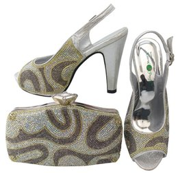 Beautiful Shoes For Women Canada - Beautiful high heel 12CM african silver shoes match handbag set with rhinestones women pumps and bag for dress BCH-28