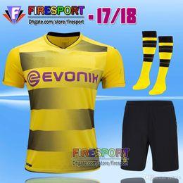 e2ddec9d1 buy full sets new 2017 borussia dortmund reus soccer jersey kits 17 18 home  d8c15 7335f