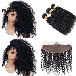 kinky curly bundles closure NZ - Brazilian Virgin human Hair bundles with closure lace 13*4 kinky curly weaves closure with bundles African American curly hair extension
