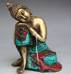 $enCountryForm.capitalKeyWord Canada - christmas decorations for home+ Collection of rare Tibetan gilt imitation turquoise copper sleeping Buddha statue Arts Crafts Antiques Metal