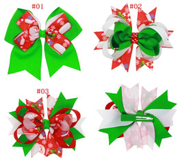$enCountryForm.capitalKeyWord Canada - 12Pcs 5 Inch Christmas New Style Kids Layered Ribbon Bows Hairpin Baby Girls Handmade Boutique Hair Clip Beautiful HuiLin DW52