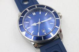 Discount superocean heritage watch - Mens Superocean Heritage Blue Dial Date Rubber Belt stainless steel Sport Chronograph Watch Men rubber belt Dive Wristwa