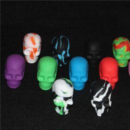 Oem tOys online shopping - skull silicone containers skull silicone dab jar wax containers ml skull silicone dab jar OEM available glass bubbler bong
