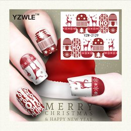 nails art for christmas 2019 - Wholesale- Yzwle 1 Sheet Christmas Design Diy Decals Nails Art Water Transfer Printing Stickers Accessories For Manicure