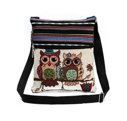 $enCountryForm.capitalKeyWord Canada - Hot Sale Cartoon Owl Print Messenger Bags Canvas Female Shoulder Bags Double Zipper Women Mini Flap Shoulder Handbags