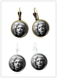 $enCountryForm.capitalKeyWord Canada - 20Pair Fashion Marilyn Monroe Drop Earrings art Glass Cabochon Jewelry Antique bronze silver Women Earrings Gift Girl