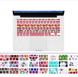 apple macbook air decals Canada - Silicone Flower Decal Rainbow Keyboard Cover Keypad Skin Protector For Apple Mac Macbook Pro 13 15 17 Air 13 Retina 13 US layout