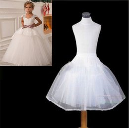 Jupe Longue Fille Fleuriste Pas Cher-Les derniers enfants jupons Mariage accessoires mariée 2 cerceaux 2 couches Little Girls Crinoline blanc Long Girl Flower robe formelle Underskirt