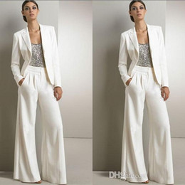 Chinese  Modern White Three Pieces Mother Of The Bride Pant Suits For Silver Sequined Wedding Guest Dress Plus Size Dresses With Jackets manufacturers