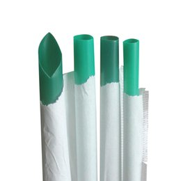 $enCountryForm.capitalKeyWord Australia - hot sale 10X210mm smooth straight green individual package plastic safe drinking straw green color