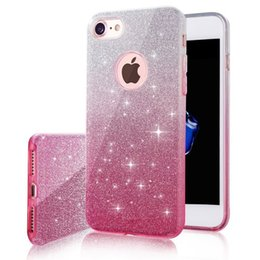 Chinese  3 IN 1 Gradient Glitter Colorful Cover for iphone X 8 7 6 6s plus Case Clear PC+TPU Coque Cases Bling Fashion manufacturers