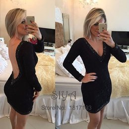 Conception De Robe Pour Femmes Courtes Pas Cher-Sexy Little Black Cocktail Dresses 2017 Deep V Neck Long Sleeve Short Mini dernière robe design Special Occasion Dress for Women