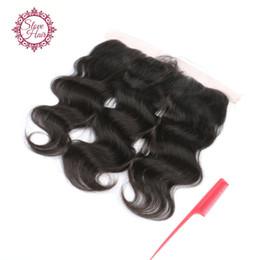 Venta al por mayor de Envío gratis virgen brasileño de pelo humano oreja a oreja encaje cierre frontal con el pelo del bebé 13x4 encajes frontales del cordón de la onda del cuerpo