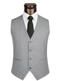 Entreprise Plus Mince Taille Pas Cher-Vente en gros- 2017 Light Grey Hommes Costumes Vest Hommes Casual Fashion Slim Fit sans manches Business Hommes Robe de bureau Maillot de taille Just Vest Only