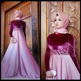 VelVet abaya online shopping - Vestidos De Festa Formal Evening Gown Abaya Kaftan Dresses Long Sleeve Eggplant Velvet Muslim Evening Dresses Formal Party Gowns