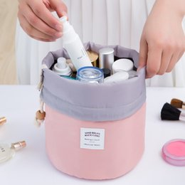 online shopping Barrel Shaped Travel Cosmetic Bag Nylon High Capacity Drawstring Drum Wash Bags Makeup bag Organizer Storage