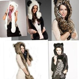 Hats Scarfs Womens Canada - 8 Styles Animal Fur Cap One Piece Winter Hats Women Cartoon Winter Cap Beanie With Neck Warmer Scarf Womens Hats Beanies CCA7467 50pcs