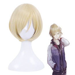 Wholesale yuri ice cosplay resale online - 100 Brand New High Quality Fashion Picture full lace wigs gt Yuri on Ice Plisetsky Yuri Men s Blonde Short Straight Cosplay Full Wig