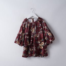 Robes De Velours Bébé Pas Cher-Everweekend Girls Floral Ruffles Velvet Robe Flare Sleeve Vintage Corée Candy Couleur Enfant Vêtements Sweet Fashion Baby Dress