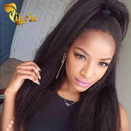 indian kinky straight full lace wig NZ - Kinky Straight Glueless Full Lace Wigs Baby Hair Human Hair Lace Front Wigs With Bangs Indian Malaysian Peruvian Virgin Hair