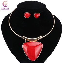 wholesale boho fashion UK - Women 3 Colors Boho Acrylic Fashion 2017 Jewelry Sets With Earrings Statement Necklace For Party Wedding Trendy Necklace