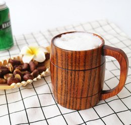 wholesale wooden mugs NZ - Fashion wooden beer mugs with handle coffee mugs environmental protection material exquisite home decorations drinkware DH12