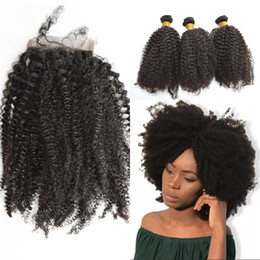 afro kinky hair bundle closure 2019 - Lace Closure with 3 Bundles Afro Kinky Curly Brazilian Human Hair with Closure 4x4 Can be Dyed G-EASY discount afro kink