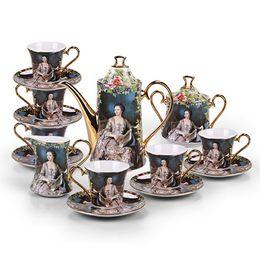 $enCountryForm.capitalKeyWord Canada - 2017 Noble Women Porcelain 15pcs Afternoon Tea New Bone china Mug European Ceramic Coffee Cup Saucer Tea Sets Tea Pot Jug Drinkware