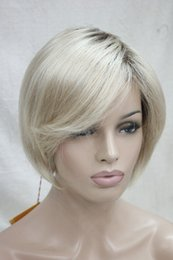 straight blonde wig roots Australia - free shipping Charming beautiful fashion new fashion blonde with brown root ombre short top quality hair straight BOB wig