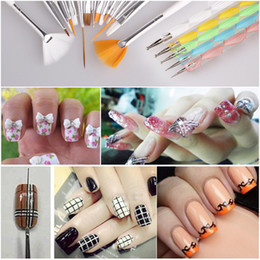 Wholesale 20pcs set Nail Art Design Painting Tool Pen Polish Brush Set Kit Professional Nail Brushes Styling for nails High Quality