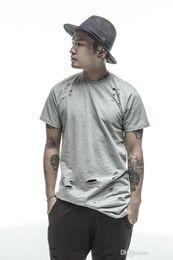 583bf5f165b8b Casual camisetas extendidas blanco   negro hip hop Fashion Hole Streetwear  Kanye West manga corta camisetas largas ropa swag