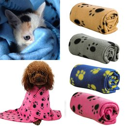 Puppies Beds Canada - Hot Pet Cat Kitten Dog Puppy Winter Warm Handcrafted Fleece Soft Blanket Beds Mat Cover Paw Print