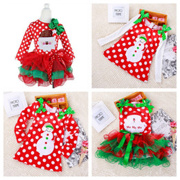Jupe Noire De Noel Pas Cher-Baby Girls Christmas Dress Xmas Santa Claus Ensembles de vêtements Kids Long Sleeve Dot Bow Princess Robes Lace infantile TUTU Jupes