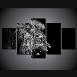 $enCountryForm.capitalKeyWord UK - Abstract animal lion paintings on canvas cheap Printed 5 pieces modular modern art wall hanging paintings for home decor