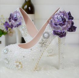 $enCountryForm.capitalKeyWord NZ - Han edition crystal pearls big purple flowers round head the stiletto heel shoes white single shoes wedding bride crystal nightclub