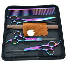 China 7.0Inch Purple Dragon Professional Pet Grooming Scissors Set Dog Cutting Scissors & Thinning Scissors Curved Shears Pet Supplies , LZS0355 supplier dog grooming clipper sets suppliers