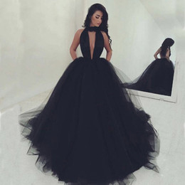 Robe De Bal Noir Sur Mesure Pas Cher-Custom Made Black Deep V Neck Tulle Long Robe de bal Robes de soirée Sexy Backless sans manches Puffy Skir Formal Gowns