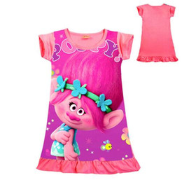 $enCountryForm.capitalKeyWord Canada - Trolls Girls Dress Poppy Printed Cartoon Home Pajamas Dress Short Sleeved Summer Cotton Princess Dress Kids Clothing 3-10 Years