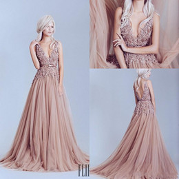 5836b6a1 Blush Pink 3D Lace Applique Backless Prom Dresses 2017 Elie Saab Deep V Neck  Formal Evening Gowns A Line Sweep Train Beads Pageant Gown