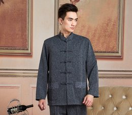 shanghai cotton 2019 - Shanghai Story Jacket Men Formal Business Shirt Chinese Tunic Suits Traditional Clothing Blend Linen Long Sleeve Shirt F