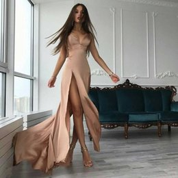 Barato Vestido Longo Barato Por Atacado-Atacado Sexy Spaghetti Straps A Line Prom Dresses Cheap Side Split V Neck Long Evening Party Vestidos para as mulheres 2017