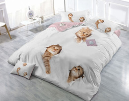 extra long beds Canada - Custom Drawings Can be Customized 3D Likable Cats Digital Printing Cotton Satin 4-Piece Duvet Cover Sets Bedding Sets