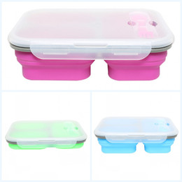 gel seal 2019 - Silicone Lunch Boxes Three Grid Meal Box Fold Portable Lunchbox Seal Bento Case Silica Gel Container For Outdoors Studen