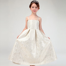 Barato Vestidos Elegantes Do Partido Dos Miúdos-Elegant Girls Dress Tulle Crianças Sundress Big Bowknot Belt Princess Kids Vestidos Unique Girl Ball Gown Champagne Dance Party Dress A6479