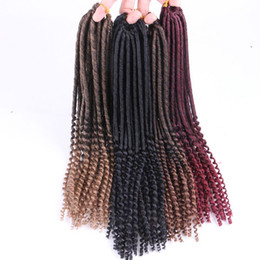Chinese  Synthetic Crochet Braids Twist Soft Dreadlocks 20inch 100G Ombre Color Synthetic Braiding Hair Extensions Curly Ends manufacturers