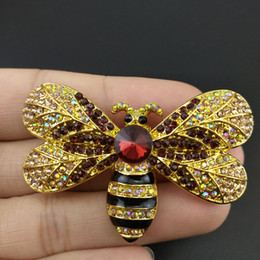 Discount insect jewelry 50pcs   Lot 50mm Fashion Jewelry Gold Tone Bee Animal Insect Rhinestone Crystal Enamel Pin Brooch for Women