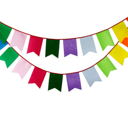 $enCountryForm.capitalKeyWord Canada - Wholesale- New 3.5M 12 flags Rainbow Felt Bunting Handmade Personality Wedding Birthday Party Decoration Baby Shower Customize Garland
